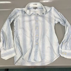 Express Small Fitted White Stripes Button Down S
